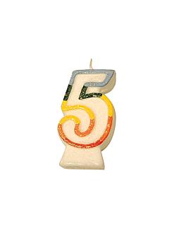 velas cumpleaÑos n.5 escarchadas 9 cm blanco cera (24 unid.)