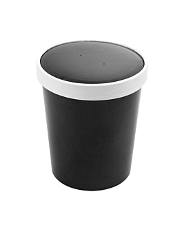 containers + lids 960 ml 18pe + 340 + 18 pe gsm Ø11,7/9,2x13,5 cm black cardboard (250 unit)
