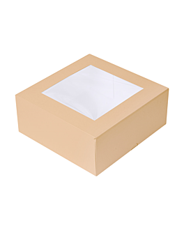 cake boxes with window 'thepack' 240 gsm + opp 18x18x7,5 cm natural nano-micro corrugated cardboard (200 unit)