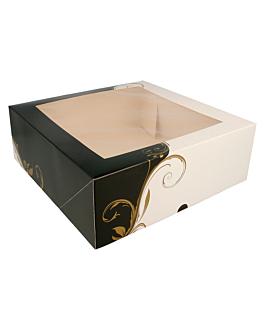 boÎtes pÂtisseries avec fenÊtre 300 g/m2 28x28x10 cm blanc carton (50 unitÉ)