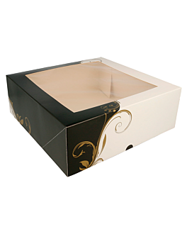cake boxes with window 300 gsm 28x28x10 cm white cardboard (50 unit)
