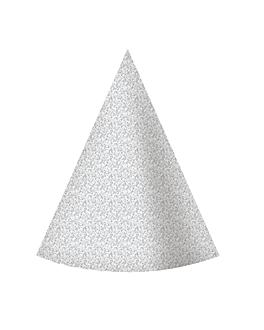 6 u. sombreros cÓnicos Ø 10,5x15 cm plateado cartoncillo (1 unid.)