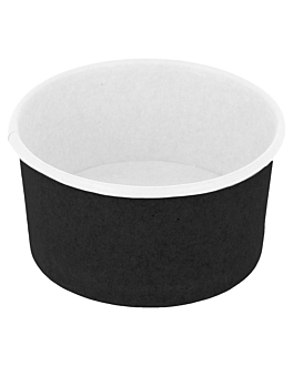 ice-cream tubs 90 ml 210 + 18pe gsm Ø 7,2x4 cm black cardboard (2000 unit)
