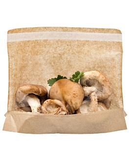 sacs avec base et fenÊtre auto fermeture 'kangoo pack' 40 g/m2 + 15 pp 21x16/12x3 cm naturel kraft (100 unitÉ)