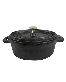 oval cocotte with lid 15,2x10,2x6,4 cm black iron (6 unit)