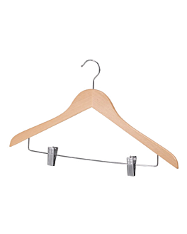 hangers with clips 43,5x1,2x27 cm natural wood (48 unit)