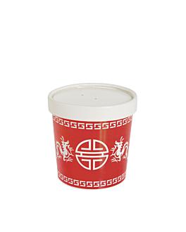 "tarrinas con tapa ""chino"" 240 ml 9,1x6 cm rojo cartoncillo (250 unid.)"
