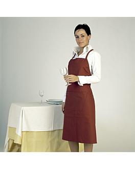 tablier bavette + 1 poche 75x90 cm bordeaux polyester (1 unitÉ)