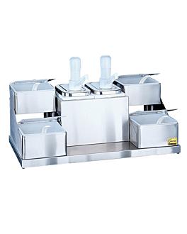 pompe condiments 2 pompes 4 recipients 57x30,8x35,6 cm argente inox (1 unitÉ)