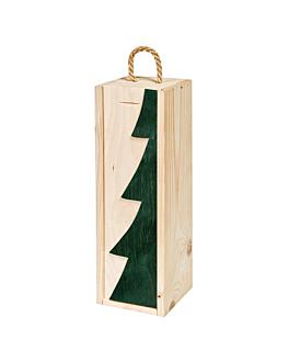 "caja 1 botella ""abeto"" 36x11x10,5 cm verde madera (10 unid.)"