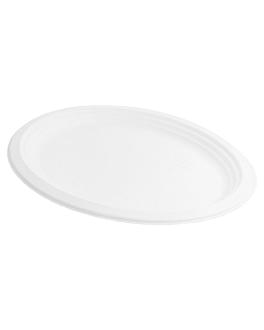 oval trays 'bionic' 31,8x25,5x2,2 cm white bagasse (600 unit)