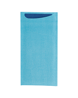 cutlery sachets + airlaid blue napkin 33x40 cm 'just in time' 90 + 10pe gsm 11,2x22,5 cm turquoise cellulose (250 unit)