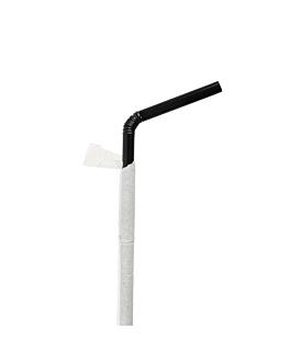 pajitas flexibles enfundadas Ø0,50x23 cm negro pp (10000 unid.)