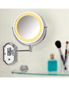 espelho banho parede, 2 caras 230 v. (x3) 19x28 cm prateado metal (1 unidade)