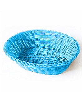 oval baskets imitation wicker 23x17x8 cm turquoise blue pp (12 unit)
