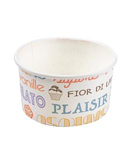 tarrinas helados 'parole' 90 ml 210 + 18 pe g/m2 Ø7,2x4 cm blanco cartoncillo (2000 unid.)