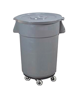 container with lid + wheels 122 l Ø 56x69 cm grey pp (1 unit)