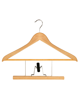 hangers with trousers clips 44,5x23x1,2 cm natural wood (48 unit)
