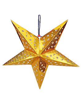 estrellas colgantes Ø 90 cm oro papel (10 unid.)