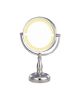 bath mirror on base (magnification x3) Ø 19x35,5 cm silver metal (1 unit)
