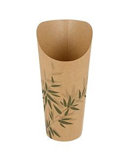 vasos fritas abiertos 'feel green' 22 oz - 660 ml 200 + 25pe g/m2 Ø8,5x18 cm marrÓn cartoncillo (50 unid.)
