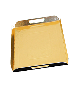 trays with handles 750 gsm 28x42 cm gold/black cardboard (100 unit)