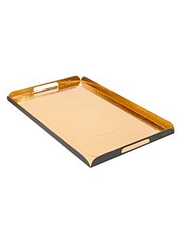 plateaux avec anses 750 g/m2 28x42 cm or/noir carton (100 unitÉ)