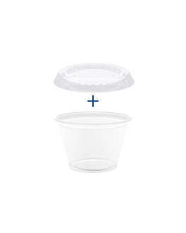 50 small containers + 50 lids 60 ml Ø6,2x3,2 cm clear pp (24 unit)