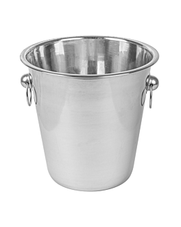 champagne bucket with handles Ø 21x21 cm silver stainless steel (1 unit)