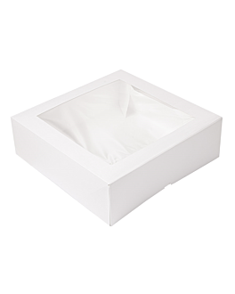 cake boxes with window 'thepack' 250 gsm + opp 32x32x10 cm white nano-micro corrugated cardboard (100 unit)