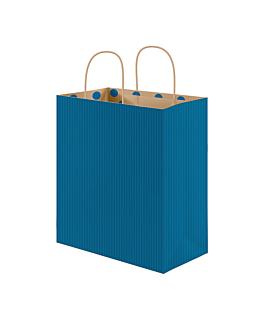 "bolsas sos con asas - int.""topos"" 80 g/m2 26+14x32 cm azul kraft (250 unid.)"