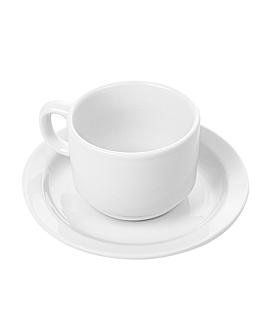 tasses cafÉ + soucoupes 250 ml blanc porcelaine (12 unitÉ)