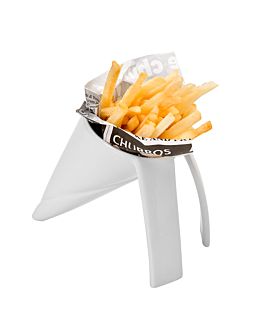 cones for fries with stand 16,4x10,6x12,7 cm white porcelain (18 unit)