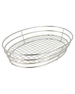 oval basket 28x20,5x5,7 cm silver stainless steel (24 unit)