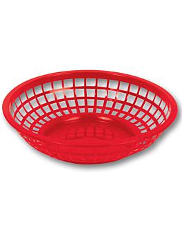 round baskets Ø 20x5 cm red pp (12 unit)