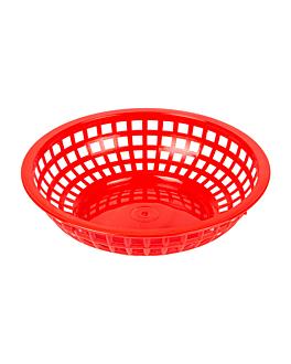 cestas redondas Ø 20x5 cm rojo pp (12 unid.)