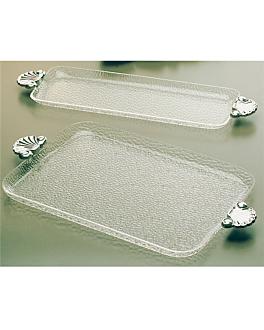 vassoi rettangolare manico alluminio 55x16,5 cm trasparente policarbonato (1 unitÀ)