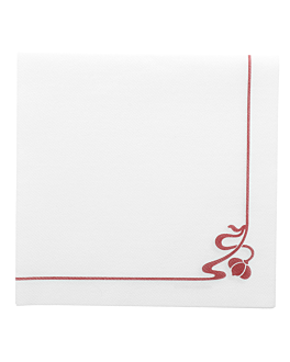 "servilletas ""flor rosa"" 45 g/m2 40x40 cm blanco airlaid (700 unid.)"