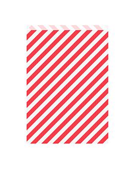 bolsas planas rayas 60 g/m2 26+9x38 cm rojo kraft verjurado (250 unid.)