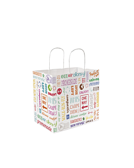 """sos bags with handles """"traiteur"""" 'parole' 90 gsm 36+21x33,5 cm white cellulose (250 unit)"""