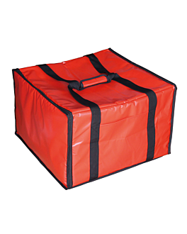 delivery bag 6 pizza boxes 40x34x25,5 cm red vinyl (1 unit)
