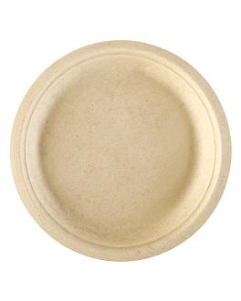 assiettes 'bionic' Ø 18x1,8 cm naturel bagasse (1000 unitÉ)