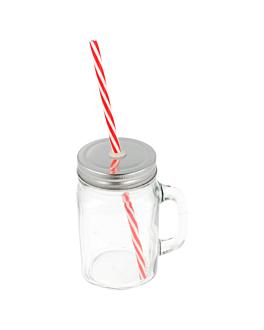 pichet + couvercle + paille 450 ml Ø 8x13 cm transparent verre (24 unitÉ)