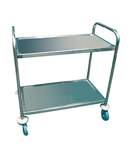 service trolley 2 shelves 86x53,5x93 cm silver stainless steel (1 unit)