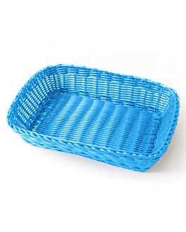 cestas sÍmil mimbre rectangulares 30x22x7 cm azul turquesa pp (12 unid.)