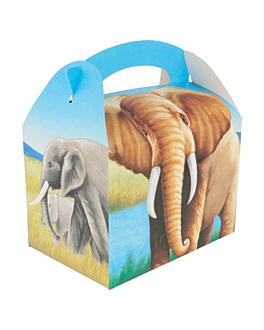 """party boxes """"elephants"""" 320 gsm 17x16x10 cm four coloured cardboard (300 unit)"""
