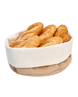 bread baskets cream/brown Ø 20x9,5 cm cotton (12 unit)