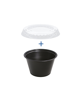 50 small containers + 50 lids 120 ml Ø7,4x4,6 cm black pp (24 unit)