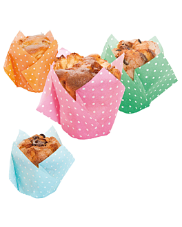 muffin cups 'tulip - polka' 50 g/m2 17,5x17,5 cm assorted cellulose (900 unit)
