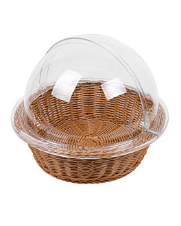 basket imitation wicker with cover Ø 36x10 cm brown pp (1 unit)